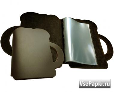 Фото: папка меню из кожи в виде кружки V-Пивная Кружка